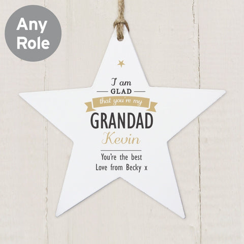 Personalised I Am Glad Wooden Star Decoration