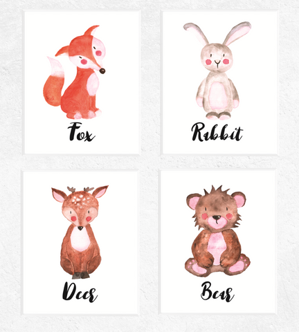 Woodland Animals Printables Watercolour 4 Set