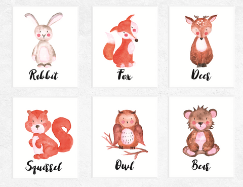 Woodland Animals Printables Watercolour 6 Set