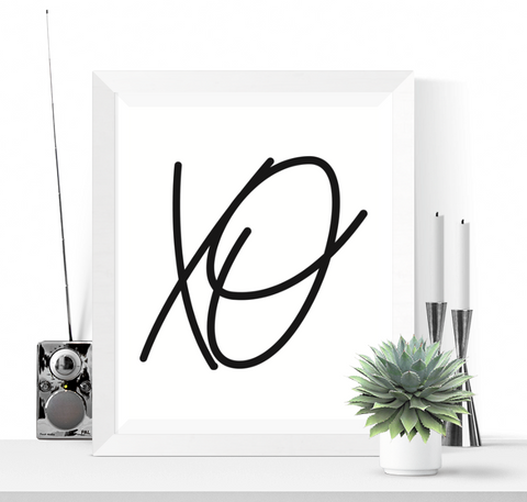 XO Art Printable Black