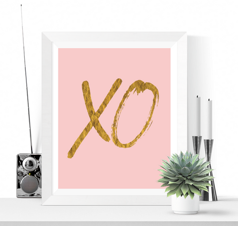 XO Art Printable Pink and Gold