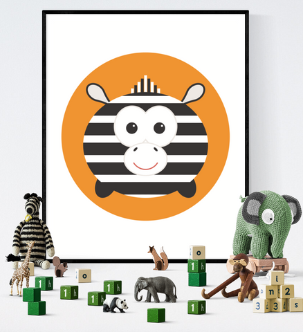Cute Zebra Safari Animal Art Printable Kawaii Style