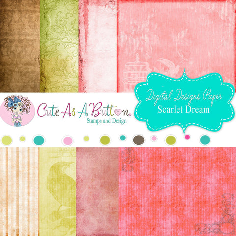 DP00004 Scarlet Dream Digital Papers 6x6 by Cute As A Button Stamps
