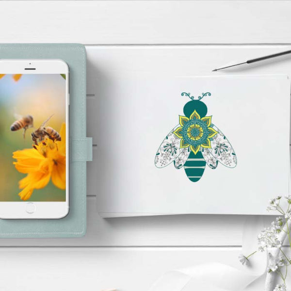 bees on a phone background and a bee illustration