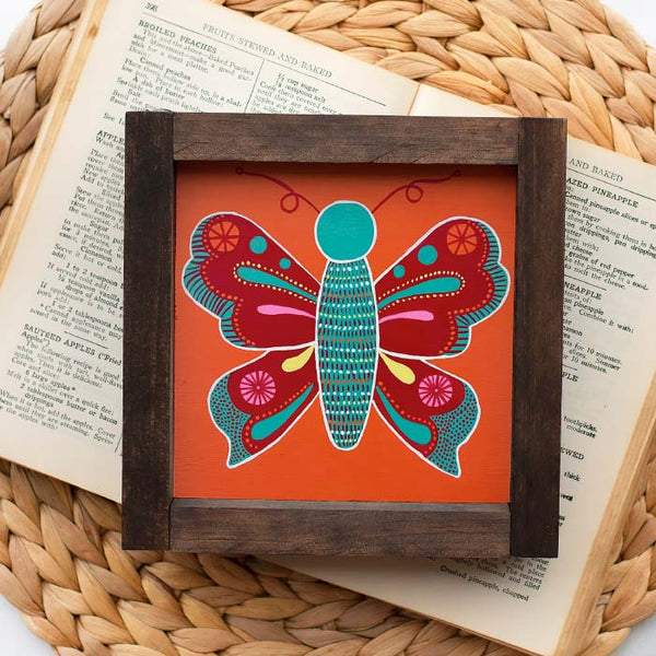 vibrantly colored butterfly painting