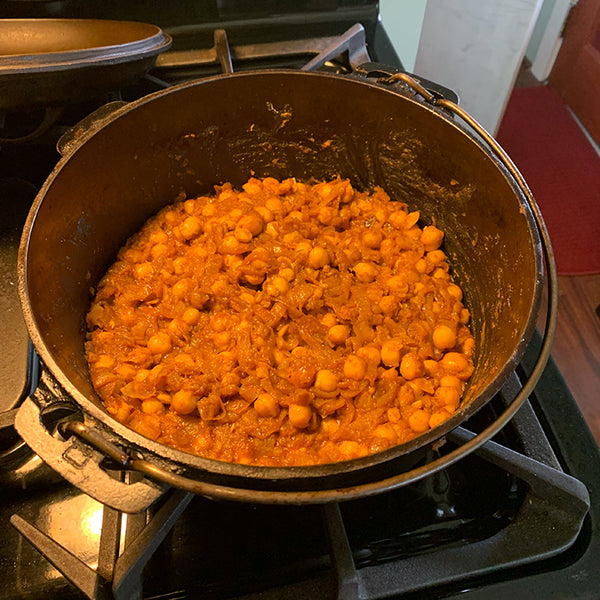 caramelized onions, chickpeas and spices