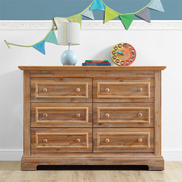 Macy 6-Drawer Wood Dresser - Natural Rustic - N/A