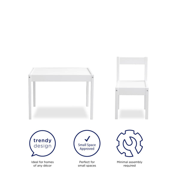 Hunter 3-Piece Kiddy Table & Chair Set - White - N/A