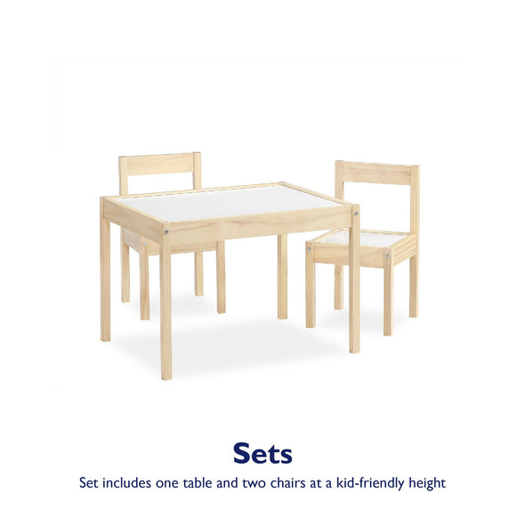 Hunter 3-Piece Kiddy Table & Chair Set - Natural - N/A