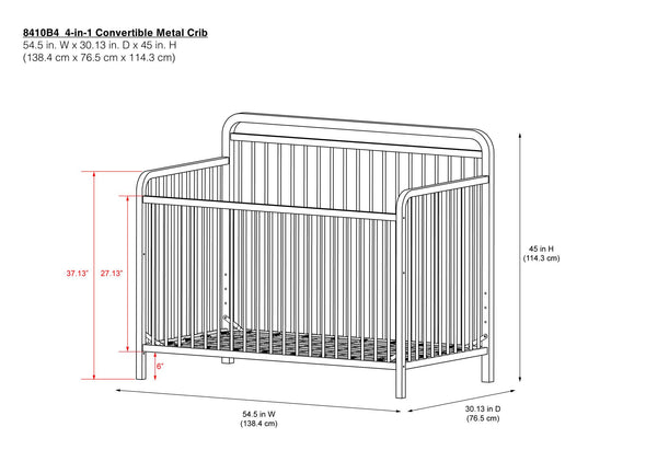 Juniper 4-in-1 Convertible Metal Crib - Gold - N/A