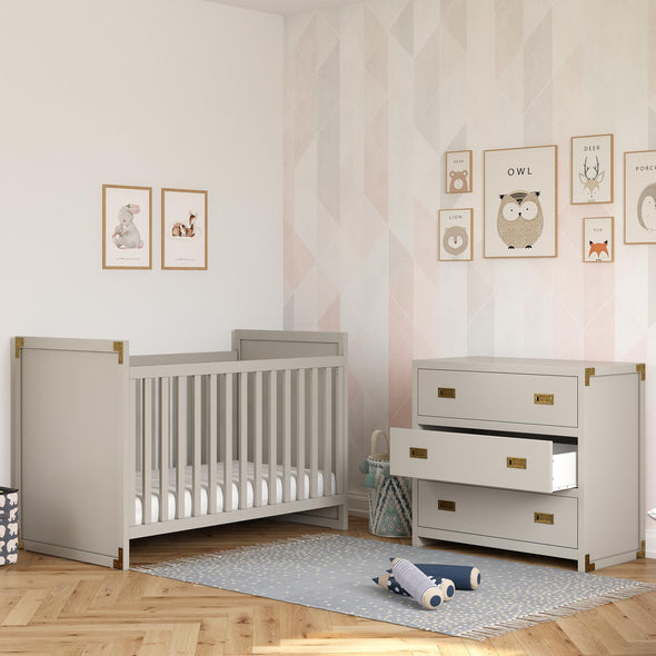 Baby Relax Miles 3-Drawer Dresser - Soft Grey - N/A