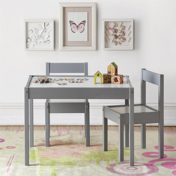 Hunter 3-Piece Kiddy Table & Chair Set - Gray - N/A