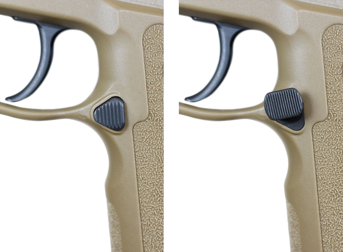 P320 Magazine Release OFFSET Extended Mag Catch Sig Sauer compare OEM to Align Tactical