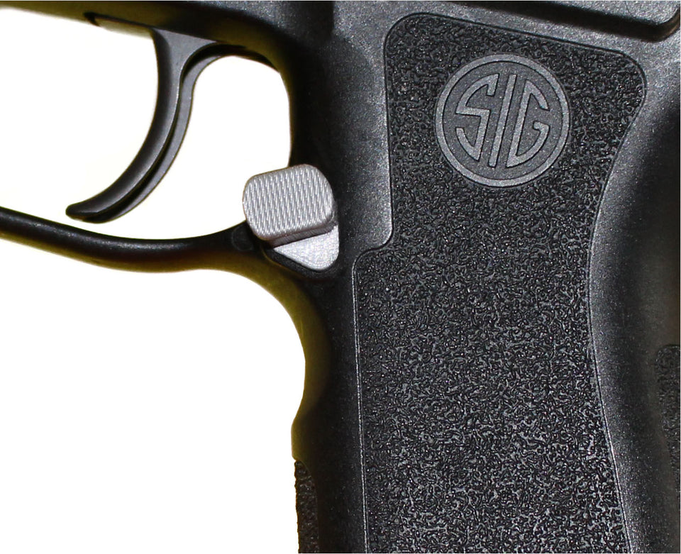 P320 Magazine Release OFFSET Extended Mag Catch Sig Sauer grey contrast part from Align Tactical