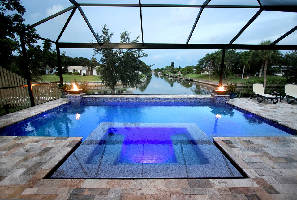 Indigo Pool Patio BBQ - Swimming Pool Construction in Venice, North Port, Sarasota and Englewood Florida. Spa, Hot Tub, Screen Cages. Weekly Pool Service and Repairs.