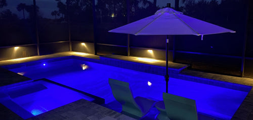 Swimming Pool Lighting- Indigo Pool Patio BBQ