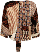 Load image into Gallery viewer, TRAMONTANA TOP KNOT MIXED GRAPHIC PRINT BROWNS