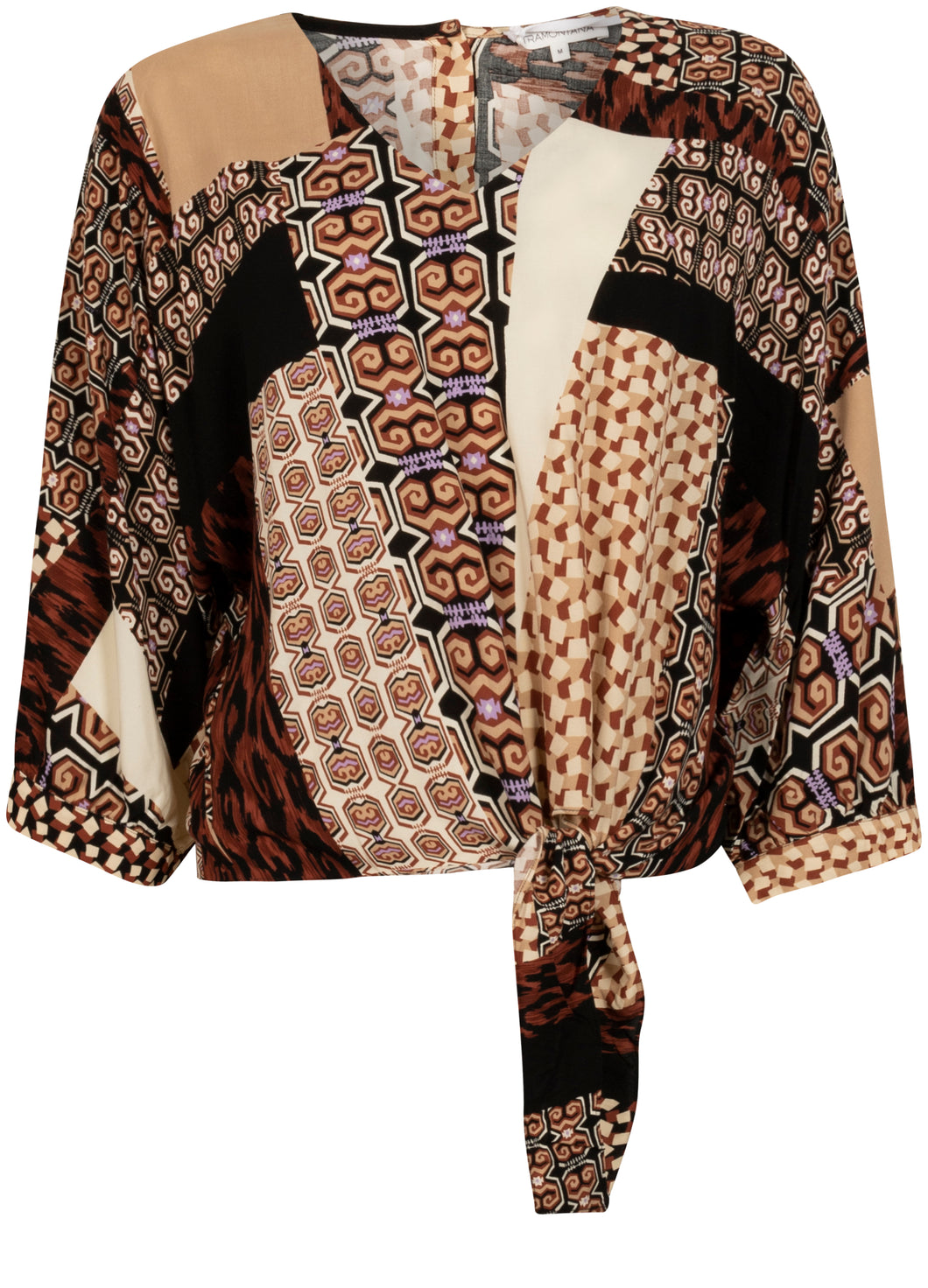 TRAMONTANA TOP KNOT MIXED GRAPHIC PRINT BROWNS