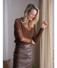 Load image into Gallery viewer, TRAMONTANA JUMPER WITH LACE DARK OLIVE
