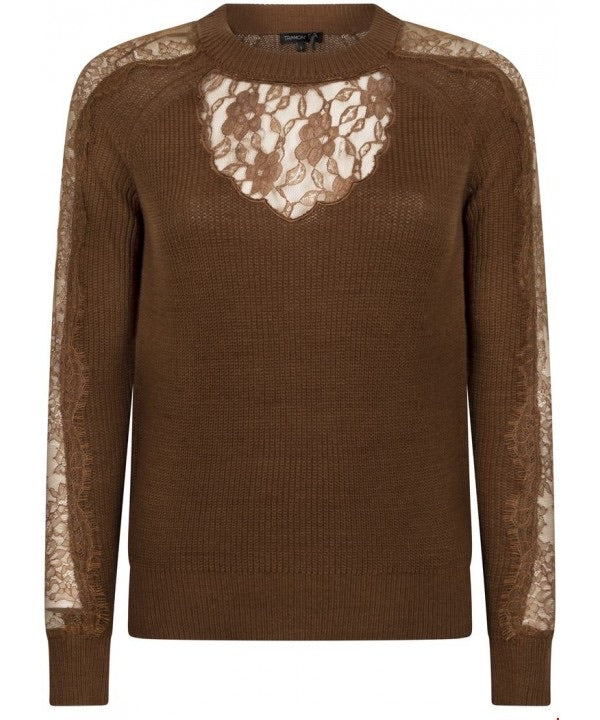 TRAMONTANA JUMPER WITH LACE DARK OLIVE