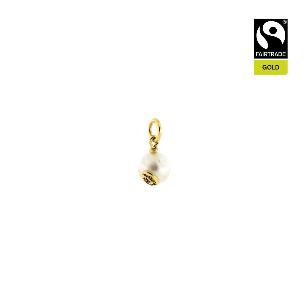 "Ciondolo <br /> Perla South Sea <br /> ""Cerca la bellezza "" <br /> Oro Fairtrade 750 <br /> esemplare N.1"