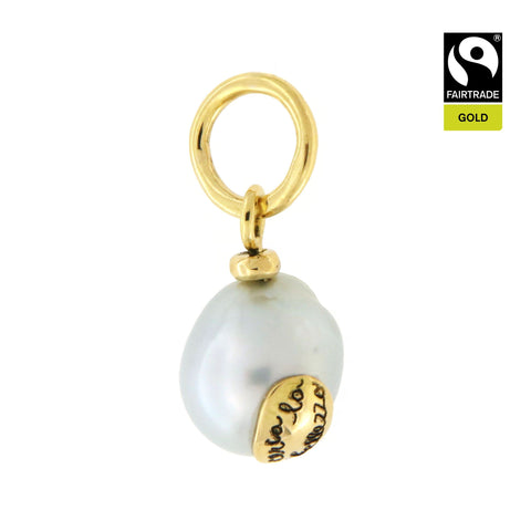 Ciondolo <br /> Perla South Sea <br /> &quot;Cerca la bellezza&quot; <br /> Oro Fairtrade 750 <br /> esemplare N.4