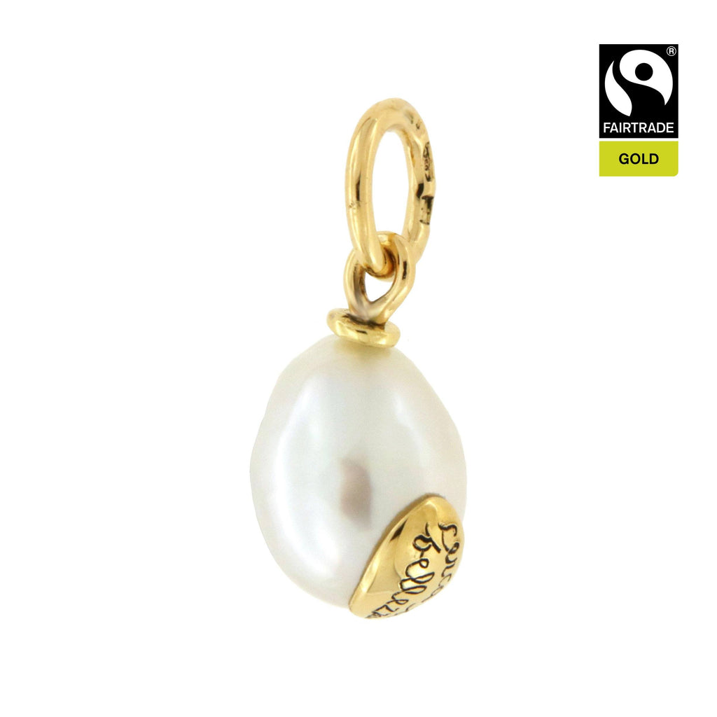 "Ciondolo <br /> Perla South Sea <br /> ""Cerca la bellezza"" <br /> Oro Fairtrade 750 <br /> esemplare N.5"