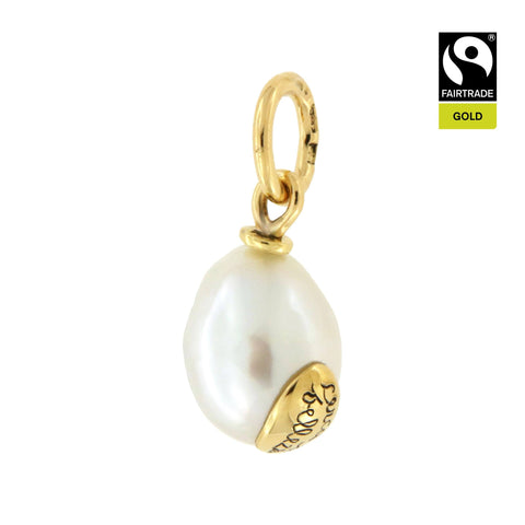 Ciondolo <br /> Perla South Sea <br /> &quot;Cerca la bellezza&quot; <br /> Oro Fairtrade 750 <br /> esemplare N.5