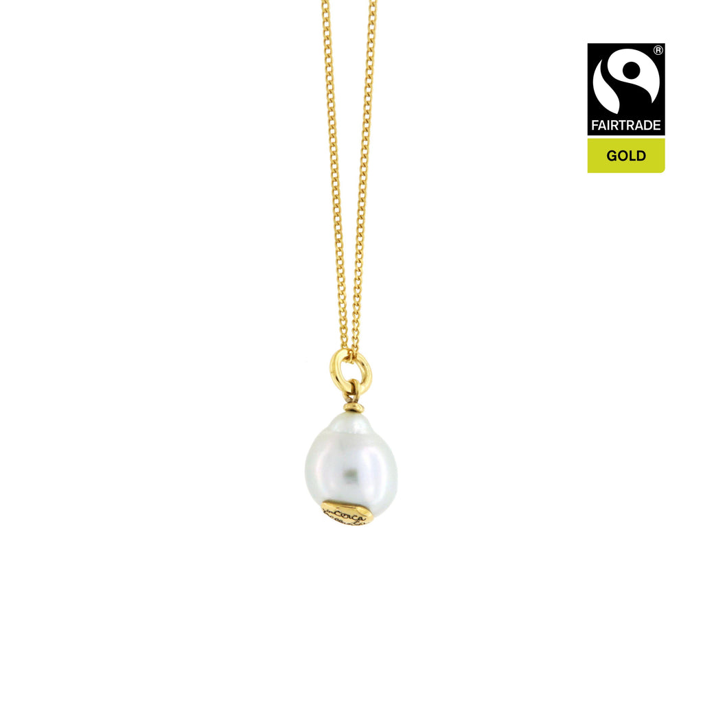 "Ciondolo <br /> Perla South Sea <br /> ""Cerca la bellezza"" <br /> Oro Fairtrade 750 <br /> esemplare N.2"