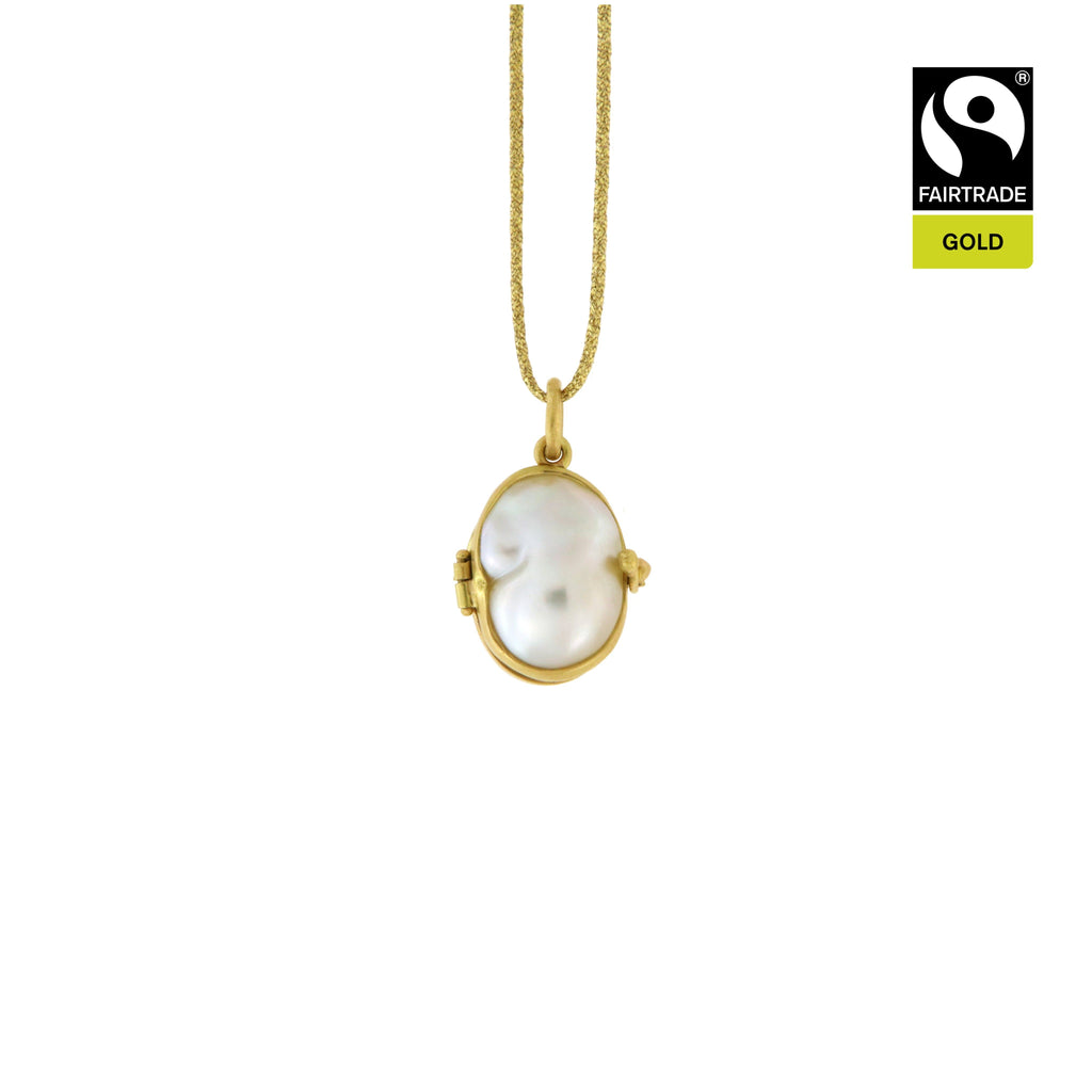 Ciondolo Scrigno con perla South Sea <br /> Oro Fairtrade 750