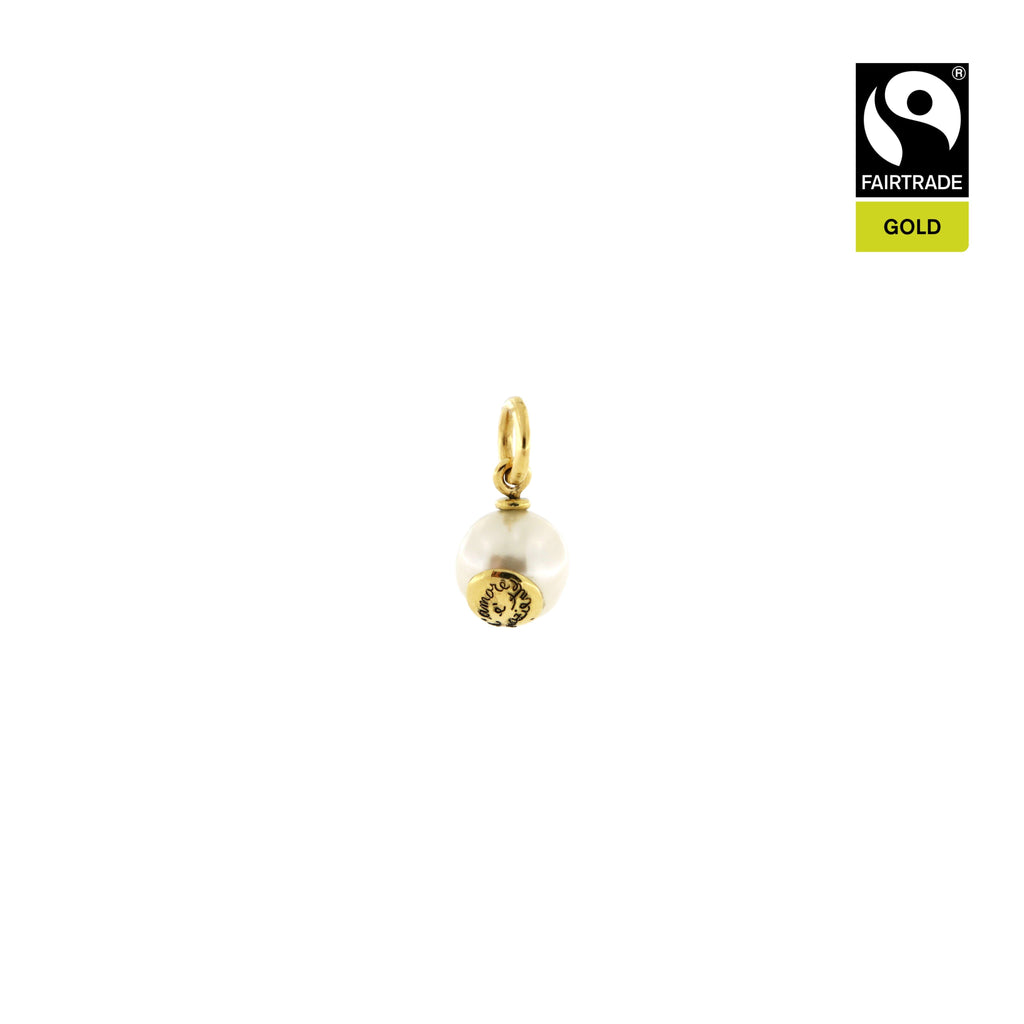 "Ciondolo <br /> Perla South Sea <br /> ""L'amore è paziente"" <br /> Oro Fairtrade 750"
