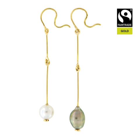 Orecchini &quot;Sulla Bellezza&quot; <br /> Perla South Sea e Keshi di Tahiti <br /> Oro Fairtrade 750
