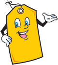 Yellow tag cartoonish character with smile on transparent background