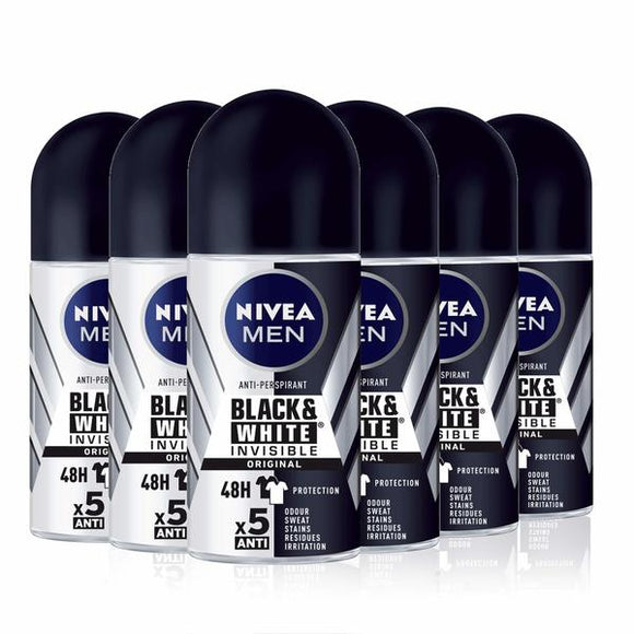 Roll-On Deodorant Black & White Invisible Original Nivea Men (6 x 50 ml) (Refurbished A+)