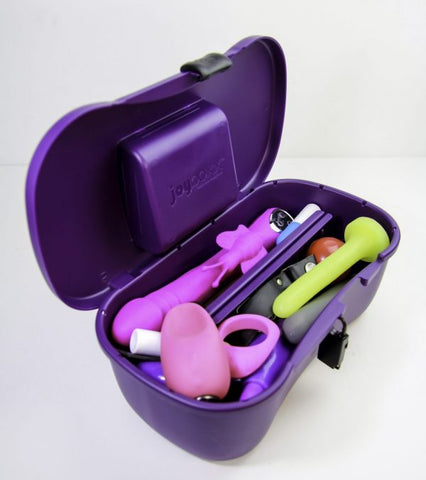 Sex toy storage box filled with toys