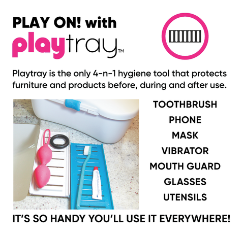 Playtray clean and dry hygienic personal item tray toothbrushes sex toys vibrators cell phones bedroom bathroom utensils