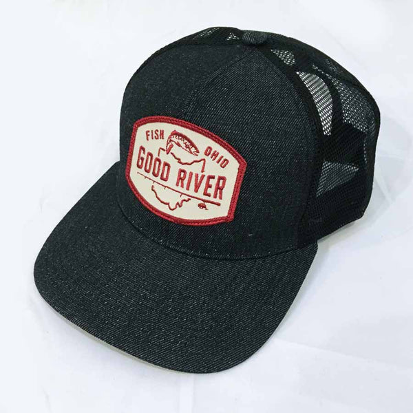 Good River Black Denim Flat Brim Trucker