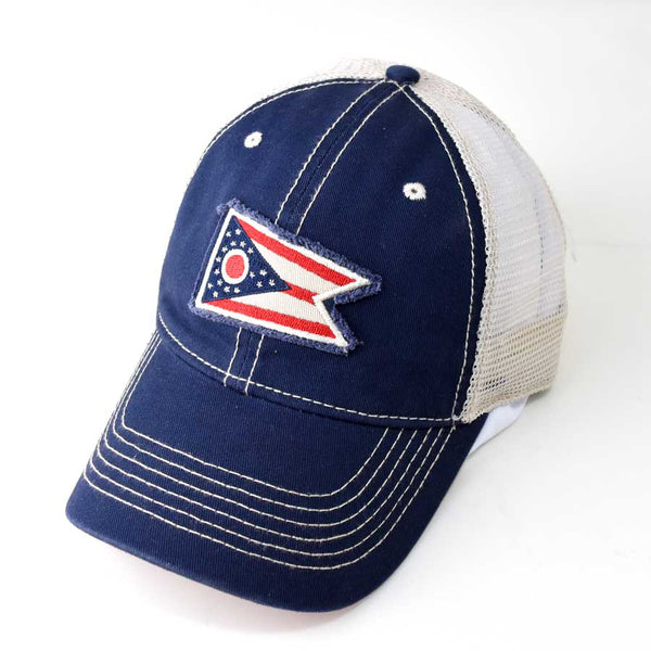 Ohio State Flag Hat Trucker - Blue