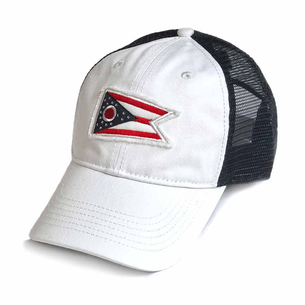 Ohio Flag Trucker Hat - White and Navy