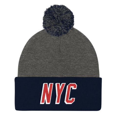 NYC • Navy/ Grey Pom Pom Knit Cap