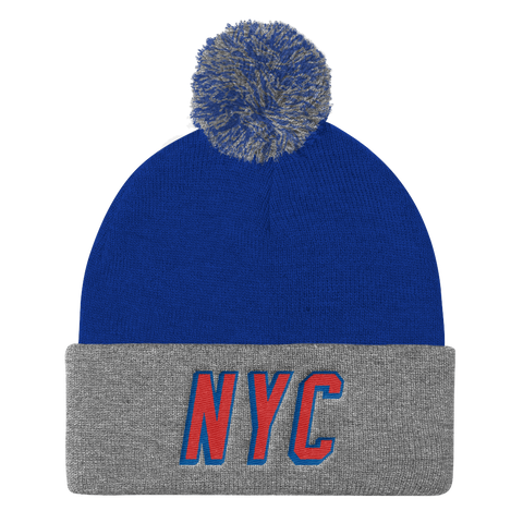 NYC• Royal/Grey Pom Pom Knit Cap