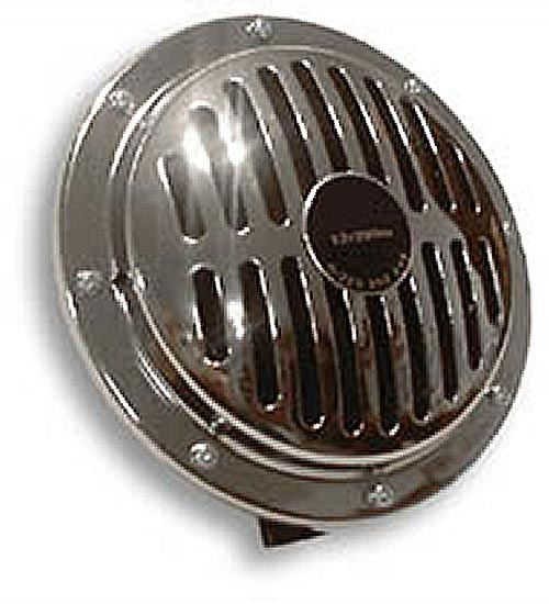 12v Large Chrome Horn with slotted grill - 150mm - CH05