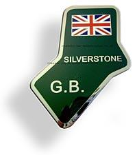 Silverstone enamelled metal badge - CXB0254