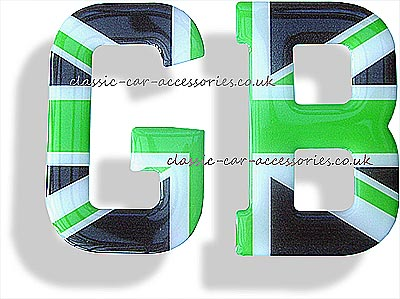GB clear resin encapsulated letters stylised green/black Union Jack - CXB010123