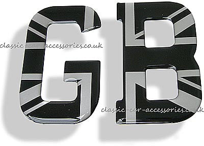 GB flexible clear resin encapsulated silver on black Union Jack letters  - CXB010121