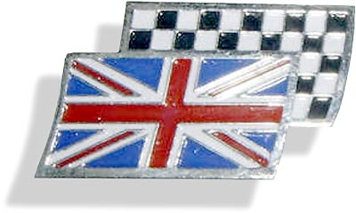Enamelled Union Jack with underlying racing flag - CXB0250