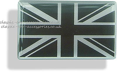 Resin encapsulated Union Jack black on silver 100 x 60mm - CXB02002