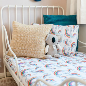 Rainbow on White Toddler Bed/Cotbed Duvet Cover and Pillow Case Set | The Gilded Bird | Toddler Duvet Sets | Buy Toddler Duvet Sets Online
