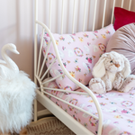 Swans on Pink Toddler Bed/Cotbed Duvet Cover and Pillow Case Set | The Gilded Bird | Toddler Duvet Sets | Buy Toddler Duvet Sets Online