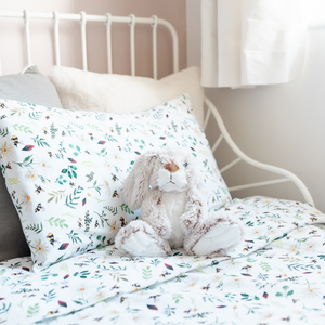 Load image into Gallery viewer, Wild Bee White Toddler Bed/Cotbed Duvet Cover and Pillow Case Set | The Gilded Bird | Toddler Duvet Sets | Buy Toddler Duvet Sets Online